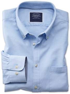 Charles Tyrwhitt Extra Slim Fit Button-Down Washed Oxford Plain Sky Blue Cotton Casual Shirt Single Cuff Size Small