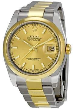 Rolex Datejust 36 Champagne Dial Stainless Steel and 18K Yellow Gold Oyster Bracelet Automatic Men's Watch 116203CSO