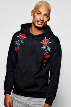 boohoo Twin Floral Embroidered Hoodie