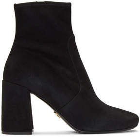 Prada Black Stretch Suede Boots