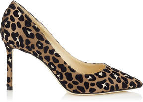 Jimmy Choo ROMY 85 Chai Mix Satin Pointy Toe Pumps with Flocked Leopard Print