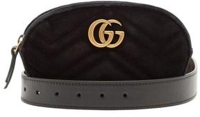 Gucci Gg Marmont Quilted Velvet Belt Bag - Womens - Black