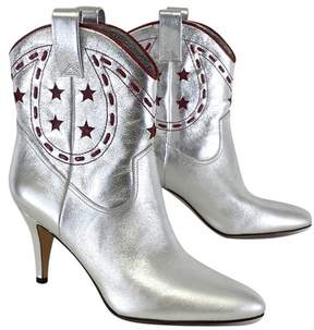 Marc Jacobs Silver & Red Leather Georgia Cowboy Boots