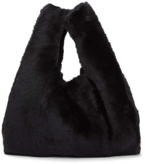 Kara Black Mini Shearling Shopper Tote