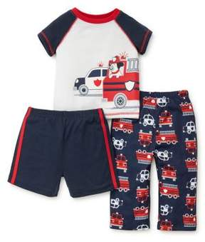Little Me Little Boy's Three-Piece Fire Engine Graphic Tee, Shorts and Pants Pajama Set