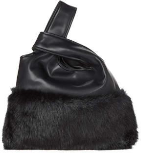 La Regale Black Snap Button Fuzzy Handbag