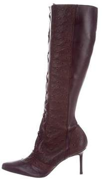 Christian Dior Ostrich-Paneled Knee-High Boots