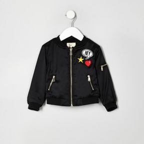 River Island Mini girls black badge bomber jacket