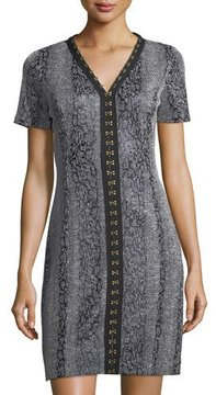 T Tahari Sofia V-Neck Hook-Trim Dress
