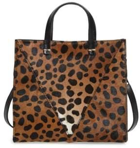Clare V. 'Petit Simple' Leopard Print Genuine Calf Hair Tote - Brown