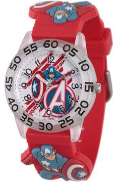 Marvel Marvel's Avengers: Captain America Boys' Clear Plastic Time Teacher Watch, Red 3D Plastic Strap