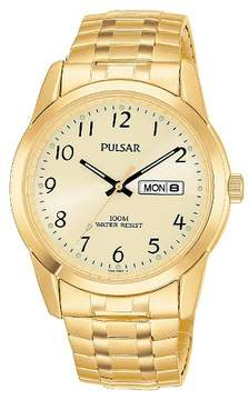 Pulsar Men's Calendar Expansion Watch - Gold Tone with Champagne Dial - PJ6054
