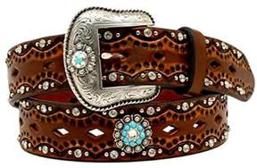 Ariat A1521002-XL 1.5 in. Womens Diamond Concho Turquoise Stone Belt, Brown - Extra Large