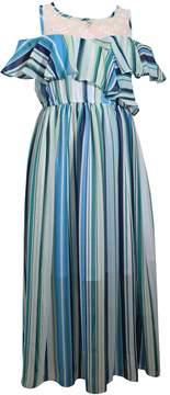 Bonnie Jean Girls 7-16 Cold Shoulder Ruffled Striped Maxi Dress