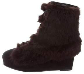 Opening Ceremony Fur Wedge Ankle Boots