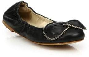 See by Chloe Clara Chain-Detail Leather Ballet Flats