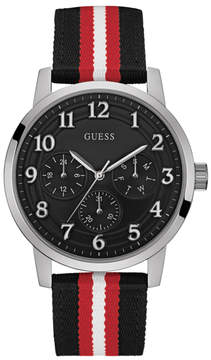 GUESS Silver-Tone and Striped Analog Watch