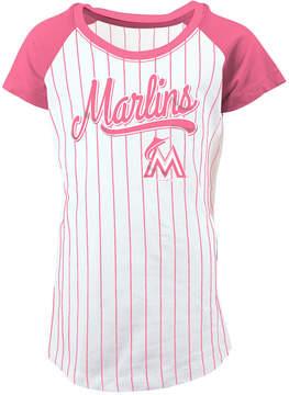 5th & Ocean Miami Marlins Pinstripe T-Shirt, Girls (4-16)