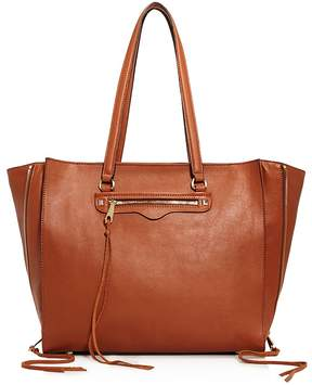 Rebecca Minkoff Regan Always On Side Zip Leather Tote - ALMOND/GOLD - STYLE