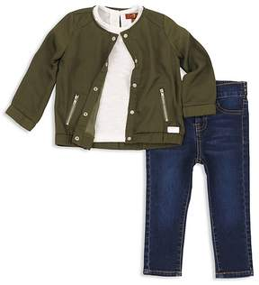 7 For All Mankind Girls' Bomber Jacket, Tee & Skinny Jeans Set - Baby