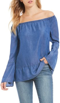 Celebrity Pink Off-The-Shoulder Bell Sleeve Ruffle Hem Chambray Top