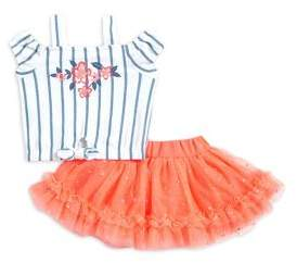 Little Lass Baby Girl's Two-Piece Off-Shoulder Top & Mesh Skirt Set