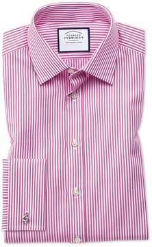Charles Tyrwhitt Extra Slim Fit Bengal Stripe Pink Cotton Dress Shirt French Cuff Size 14.5/32