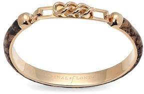Aspinal of London Chainlink Skinny Cuff Bracelet In Tan Snake