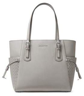 MICHAEL Michael Kors Voyager Signature Leather Tote - PEARL GREY - STYLE