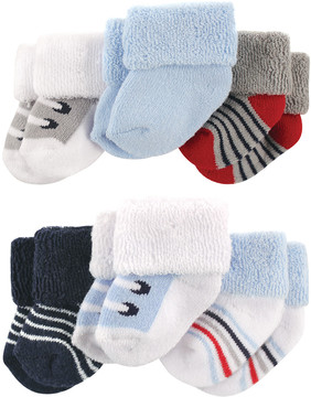 Luvable Friends White & Light Blue Terrycloth Three-Pair Socks Set - Infant