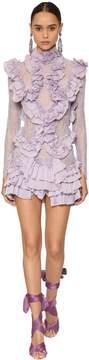 Pleated & Ruffled Mini Dress W/ Lace