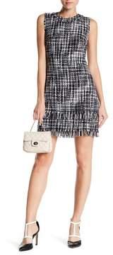 Eliza J Sleeveless Fringed Boucle Shift Dress