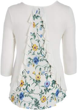 Celeste Ivory & Floral Contrast Hi-Low Tunic - Plus