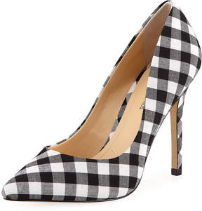 Neiman Marcus Prestige Gingham Point-Toe Pump