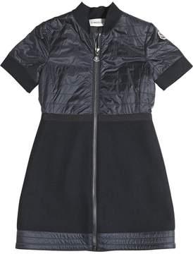 Moncler Zip-Up Wool Felt & Nylon Dress