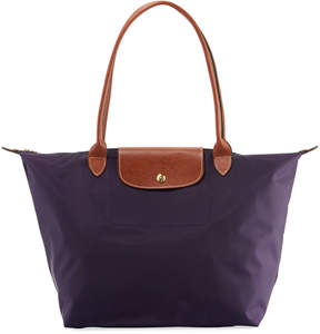 Longchamp Le Pliage Large Shoulder Tote Bag - DARK PURPLE - STYLE
