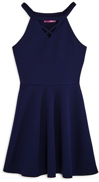 Aqua Girls' Crisscross Cutout Neck Skater Dress, Big Kid - 100% Exclusive