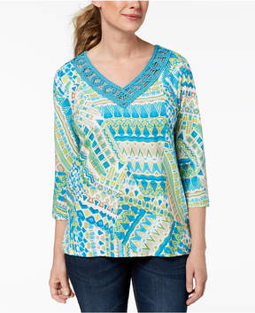 Alfred Dunner Scottsdale Crochet-Trim Top