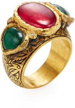 Amrapali Women's 22K Yellow Gold, Emerald, Ruby & 0.05 Total Ct. Diamond Cocktail Ring
