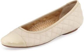Neiman Marcus Saucy Quilted Ballerina Flats, Sand