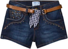 Mayoral Dark Denim Shorts with Belt