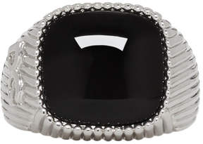 Dolce & Gabbana Silver and Black Stone Ring