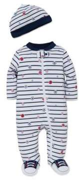 Little Me Baby Boys Two-Piece Sportstar Striped Footie and Hat Set