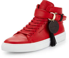 Buscemi 100mm Tassel Leather High-Top Sneaker, Red