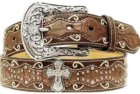 Ariat A1514002-L 1.5 in. Womens Studded Cross Inlay Belt, Brown - Large