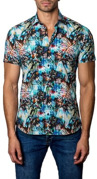 Jared Lang Woven Palm Frond Trim Fit Shirt