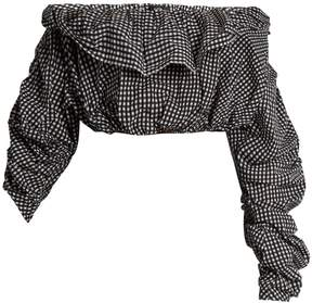 Ellery Third Degree checked stretch-cotton cropped top