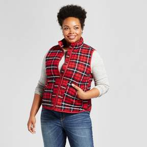 Ava & Viv Women's Plus Quilted Puffer Vest Plaid Red