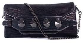 Roberto Cavalli Black Metallic Zebra Print Studded Clutch Shoulder Bag