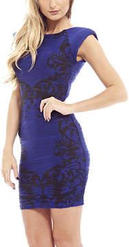 AX Paris Blue & Black Damask Stripe Bodycon Dress - Women